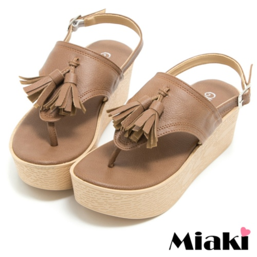 ~Miaki~MIT 涼鞋韓式流蘇厚底夾腳拖鞋 ^(棕色^)