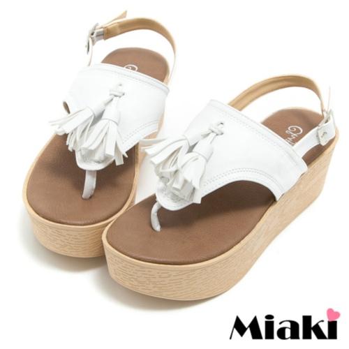 ~Miaki~MIT 涼鞋韓式流蘇厚底夾腳拖鞋 ^(白色^)