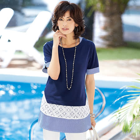 日本Portcros 現貨-蕾絲條紋拼接疊穿風中長版上衣(共兩色)