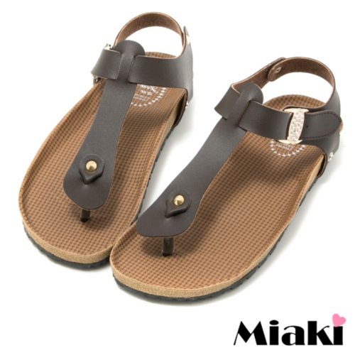~Miaki~MIT 涼鞋 平底夾腳拖鞋 ^(咖啡色^)