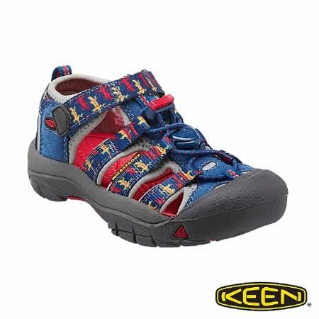KEEN 幼童 NEWPORT H2 護趾涼鞋(深藍/印花)