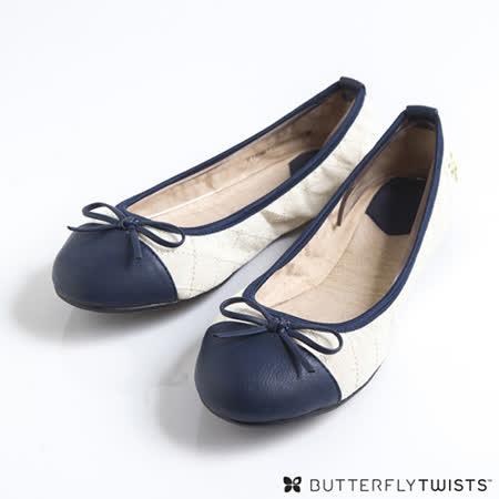 BUTTERFLY TWISTS-OLIVIA 可折疊扭轉芭蕾舞鞋-奶油白/海軍藍
