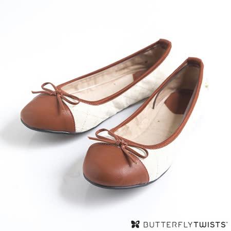 BUTTERFLY TWISTS-OLIVIA 可折疊扭轉芭蕾舞鞋-奶油白/栗色