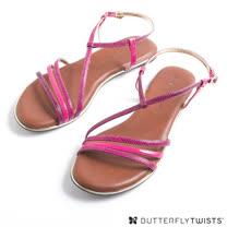 BUTTERFLY TWISTS-CHARLI 記憶軟墊細帶涼鞋-蛇紋莓果紅