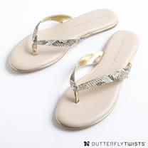 BUTTERFLY TWISTS-LOLA 記憶軟墊夾腳涼鞋-蛇紋金