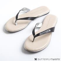 BUTTERFLY TWISTS-LOLA 記憶軟墊夾腳涼鞋-蛇紋黑