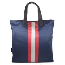 BALLY 經典LOGO尼龍條紋大購物袋.深藍