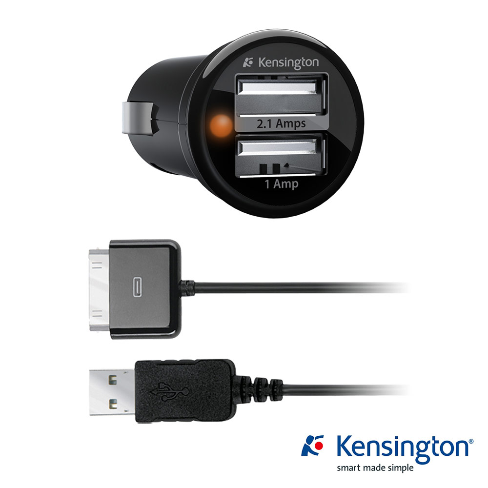Kensington  3.1A 雙埠USB 車充&同步線