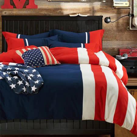 Aileen 美國隊長 貼布繡 加大四件式兩用被床包組