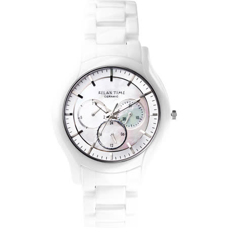 Relax Time 嶄新系列日曆珍珠貝腕錶-銀x白/42mm RT-35-3-1M