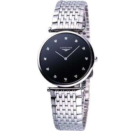 LONGINES 嘉嵐系列 12顆真鑽腕錶-黑x銀/33mm L47094586