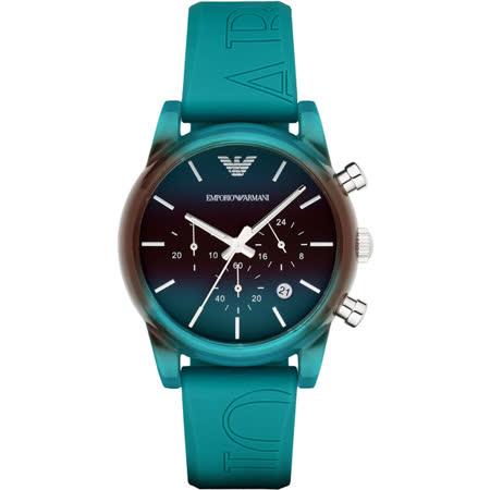Emporio Armani Classic 時尚三眼計時腕錶-漸層x綠/41mm AR1062