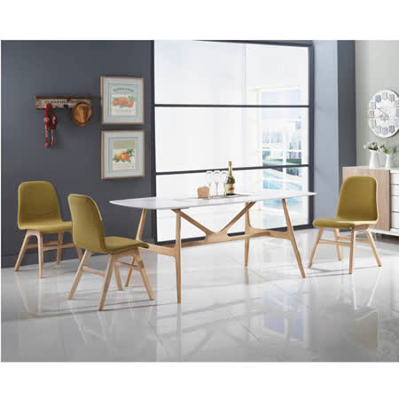 泰林6尺實木餐桌(白橡色)