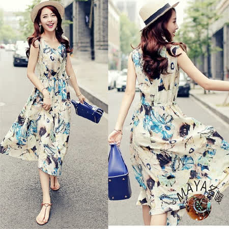 【Maya 名媛】s-xl 緞面質感/背心式長裙/綁帶收腰/抽象水墨洋裝-藍色