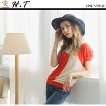 玄太-簡約格紋拼接配色連身袖針織上衣(橘)