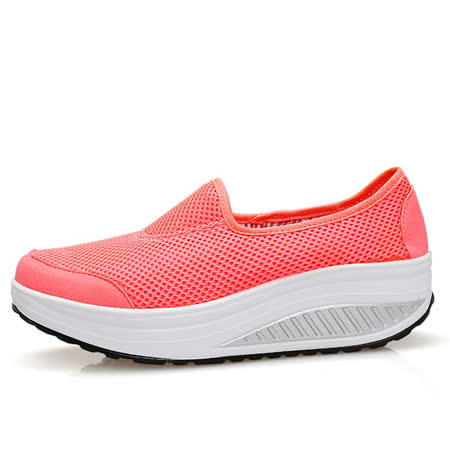 【Maya easy】增高搖擺鞋 透氣網布純色 懶人套腳運動鞋-亮彩桔