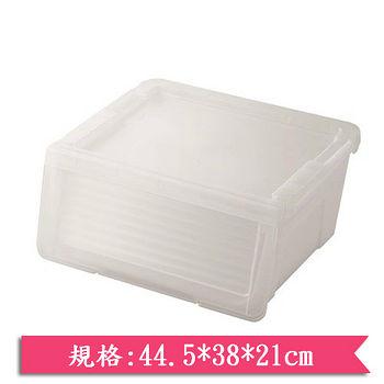 GENKI BEAR 日式粉彩滑蓋收納箱-半透明(25L)