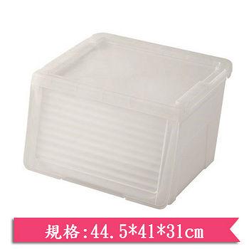 GENKI BEAR 日式粉彩滑蓋收納箱-半透明(40L)