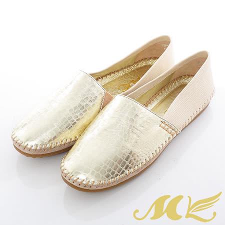 MK-全真皮-金屬光動物紋平底懶人休閒鞋-金色