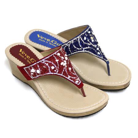 【Pretty】碎貝沙水鑽飾楔型夾腳拖鞋