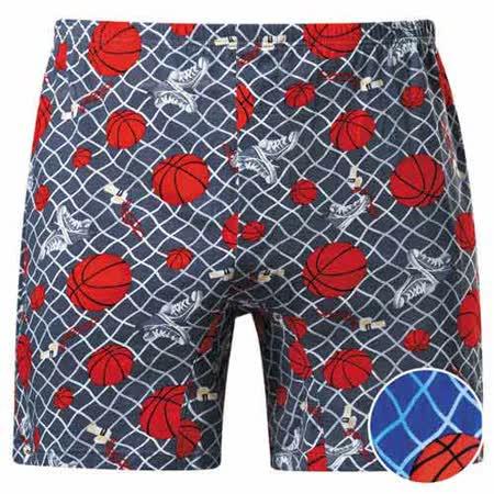 【DADADO】籃球M-3L印花平口褲(活力藍)