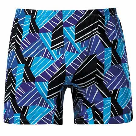 【DADADO】線條幾何M-3L印花平口褲(變化藍)