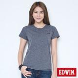 EDWIN 涼感LOGO圓領短袖T恤-女-黑灰