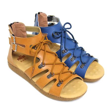 【Pretty】交叉穿繩縷空平底羅馬涼鞋