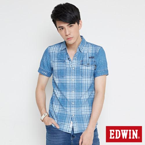 EDWIN 江戶勝 INDIGO 印格短袖襯衫~男~漂淺藍