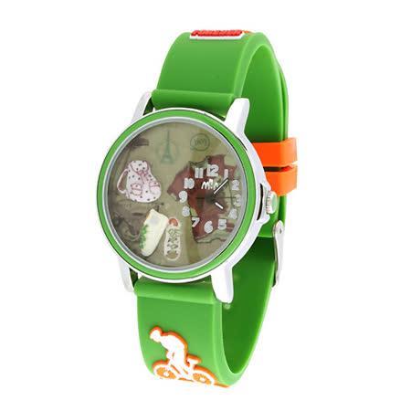 【韓國MINI 】手工軟陶創意手錶-快樂旅行(綠)