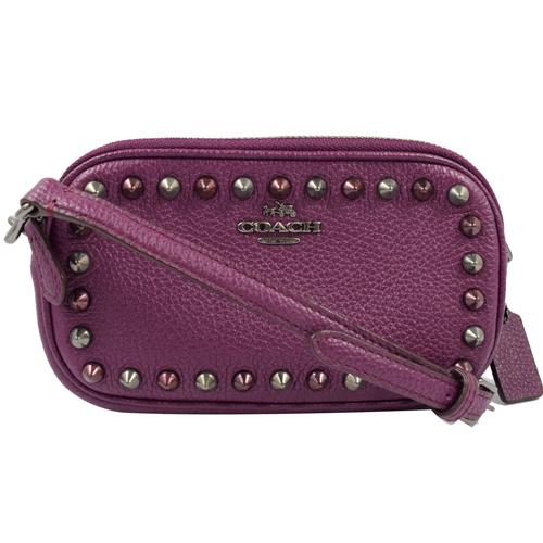 COACH 馬車LOGO皮革鉚釘迷你雙層斜背包.紫