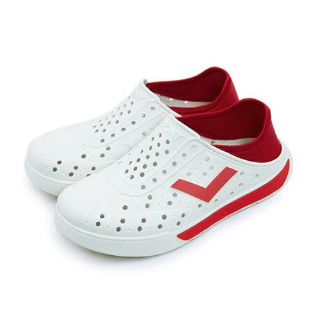 【男】PONY 防水透氣 EN-JOY 二代洞洞休閒鞋 白紅 62U1SA67RD