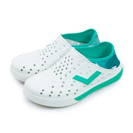 【男】PONY 防水透氣 EN-JOY 二代洞洞休閒鞋 白湖綠 62U1SA68CB