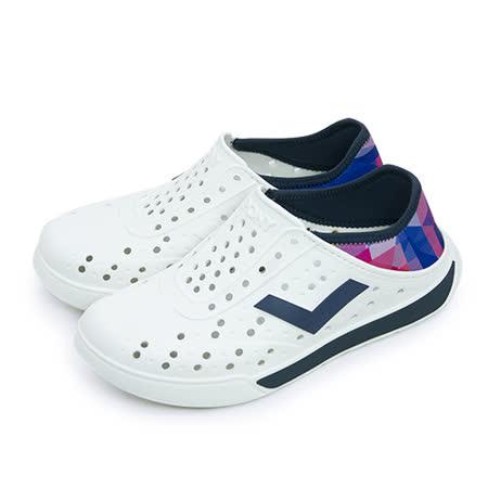 【女】PONY 防水透氣 EN-JOY 二代洞洞休閒鞋 白深藍 62U1SA68DB
