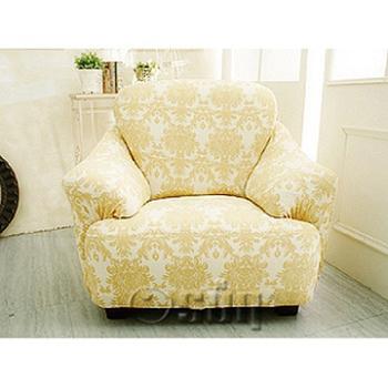 【Osun】一體成型防蹣彈性沙發套、沙發罩圖騰款(米色緹花-三人座)CE-173