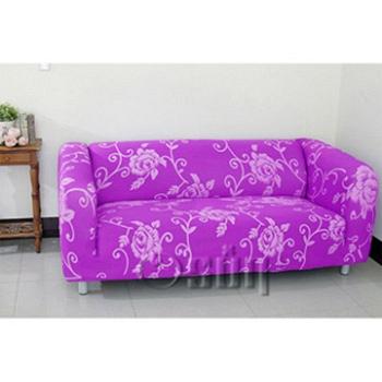 【Osun】一體成型防蹣彈性沙發套、沙發罩圖騰款(紫色玫瑰-三人座)CE-173