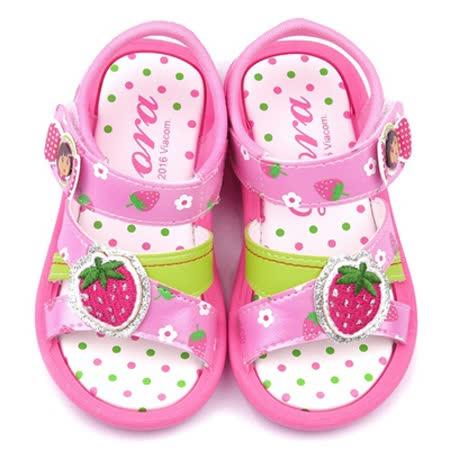 童鞋城堡-朵拉 中童 草莓點點風涼鞋DR3080-粉