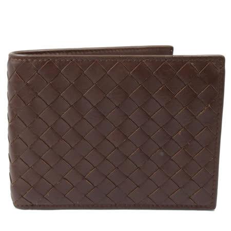 BOTTEGA VENETA  純手工小羊皮編織信用卡零錢中短夾.深咖