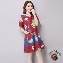 【Maya 名媛】M~2XL棉麻短袖海洋童趣款洋裝/連衣裙-紅色