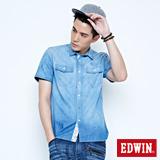 EDWIN 雙口袋棕梠印花短袖牛仔襯衫-男-拔洗藍