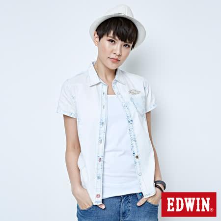 EDWIN 雙口袋棕梠印花短袖牛仔襯衫-女-重漂藍