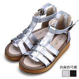 ALicE (預購)Y1144歐美羅馬平底休閒涼鞋 (銀/黑)