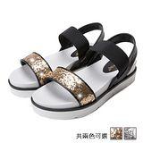 ALicE (預購)Y1137舒適休閒閃耀一字套腳涼鞋 (銀/金)