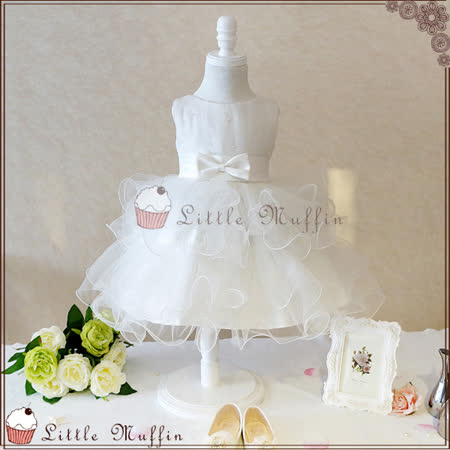 歐系珍珠多層次手工蓬蓬裙網紗小禮服/畢業白洋裝/花童禮服