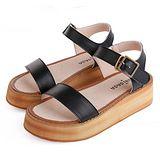 ALicE (預購)Y1150一字型厚底踝帶涼鞋 (黑)
