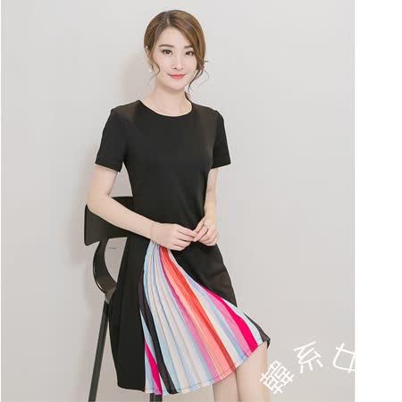 【韓系女衫】S-2XL夏季簡約純色彩虹心機款連衣裙/泮裝-黑色款