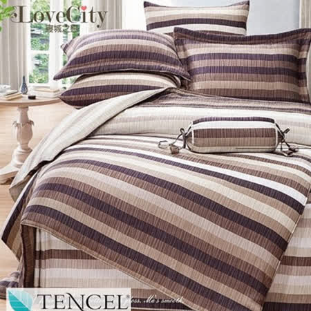 【Love City 寢城之戀】頂級TENCEL天絲 紳士格調 雙人加大六件式兩用被床罩組