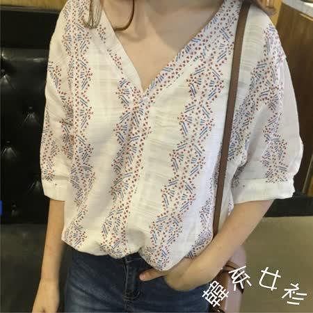 【韓系女衫】夏季寬版民族風v領罩衫/上衣
