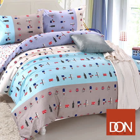 《DON 英倫小兵》加大四件式純棉兩用被床包組