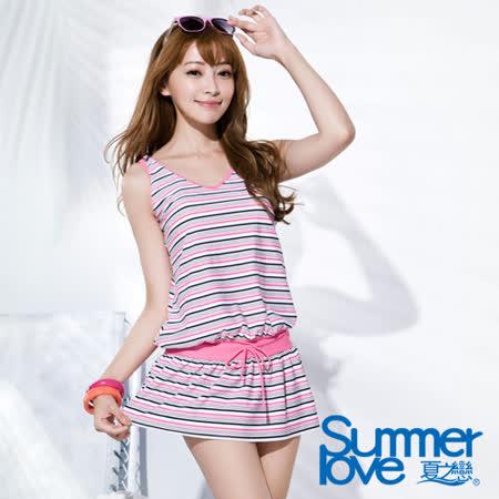 【SUMMERLOVE 夏之戀】粉紅甜心連身裙加大碼二件式泳衣(S16721)